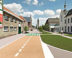 conceptbeeld Studiebureau Duynslaeger van de Arme Klarenstraat met zicht op St.-Michielstoren