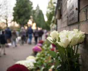 bloemen aan urnenwand op begraafplaats