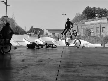Skaters en BMX'ers op Traxsite